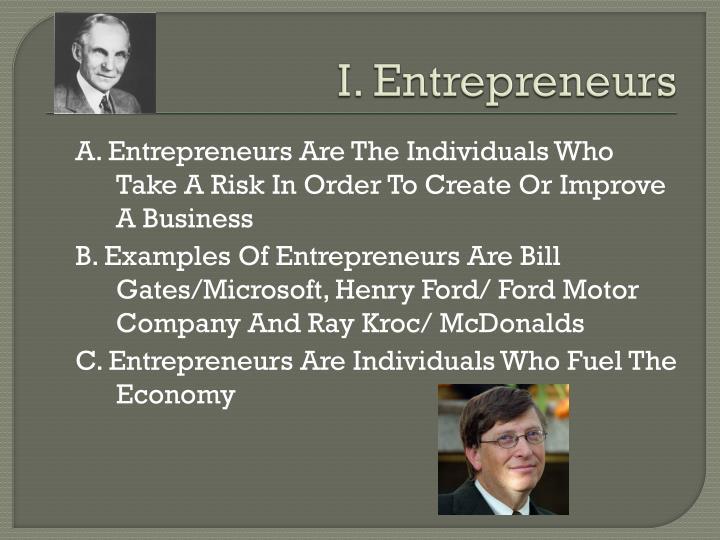 I. Entrepreneurs