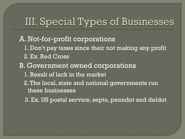 III. Special Types of Businesses