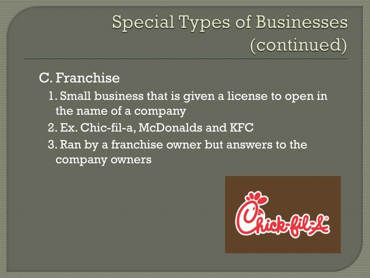 Special Types of Businesses