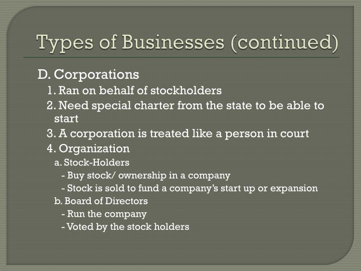 Types of Businesses (continued)