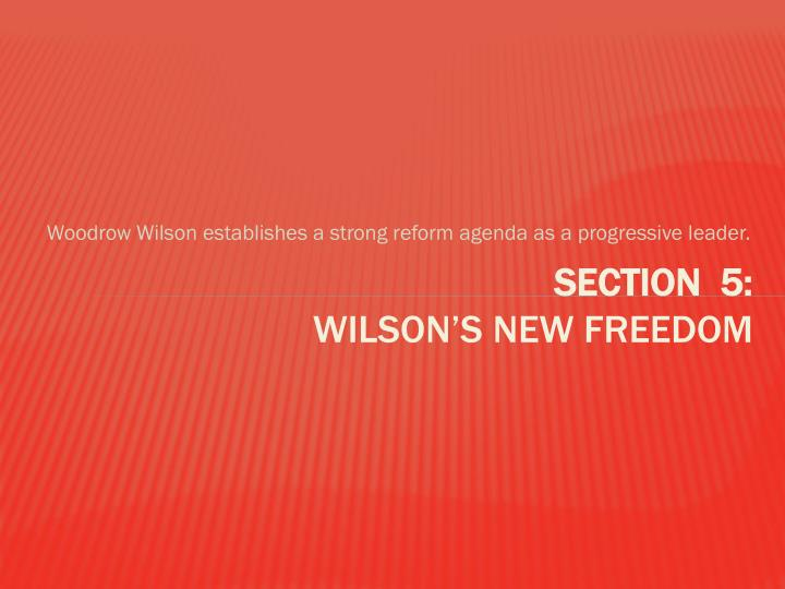Woodrow Wilson establishes a strong reform agenda as a progressive leader.