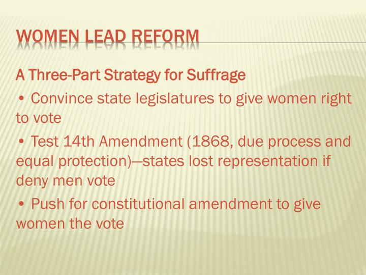 A Three-Part Strategy for Suffrage