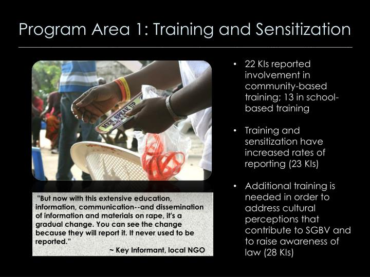 Program Area 1: Training and Sensitization