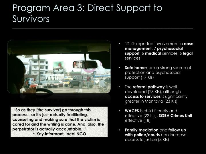 Program Area 3: Direct Support to Survivors