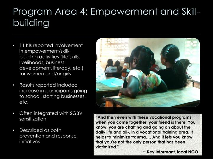 Program Area 4: Empowerment and Skill-building