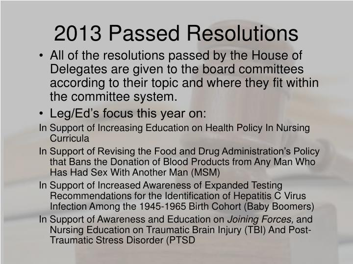 2013 Passed Resolutions