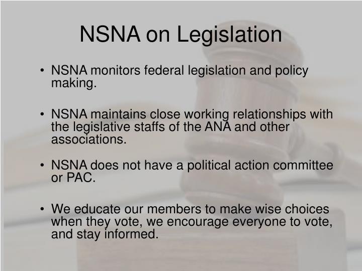 NSNA on Legislation