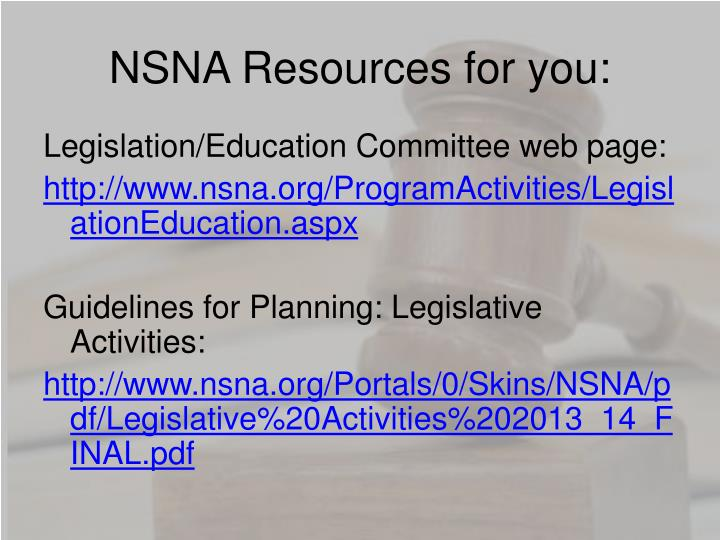 NSNA Resources for you: