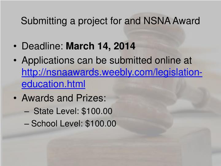 Submitting a project for and NSNA Award
