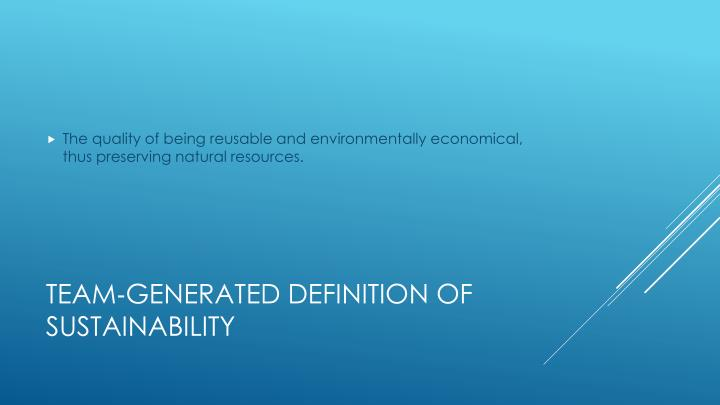 Team generated definition of sustainability