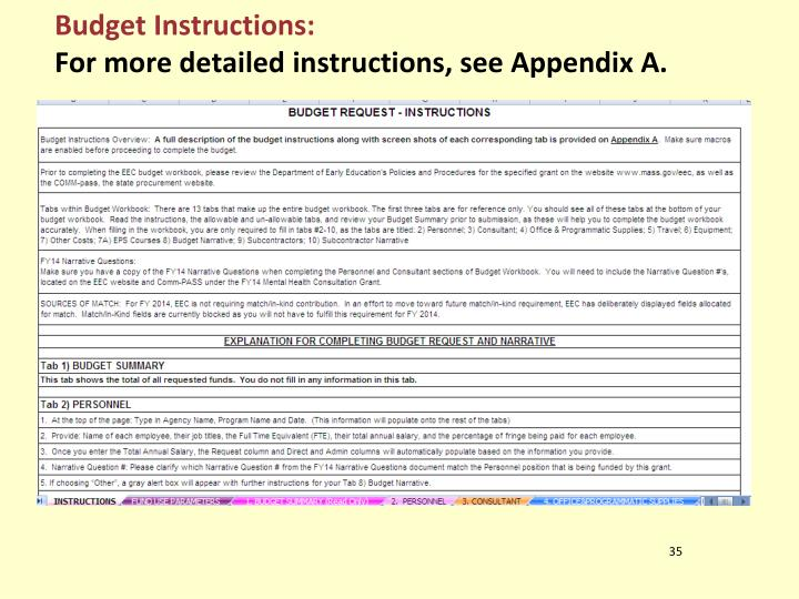 Budget Instructions: