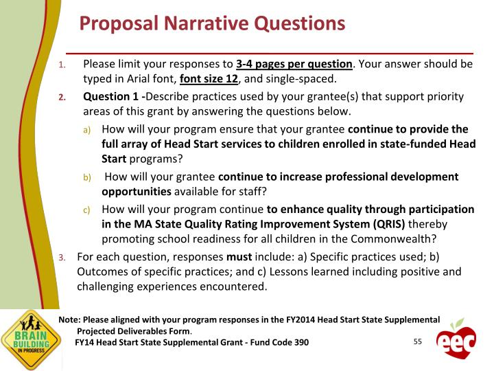 Proposal Narrative Questions