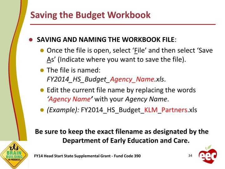 Saving the Budget Workbook