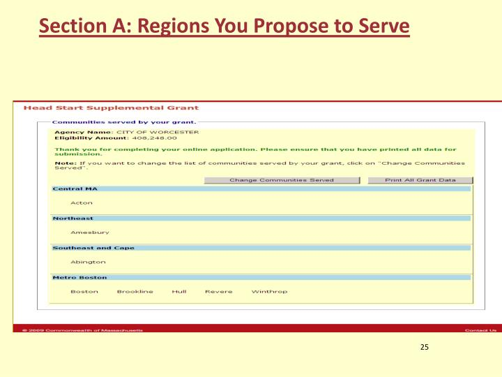 Section A: Regions You Propose to Serve