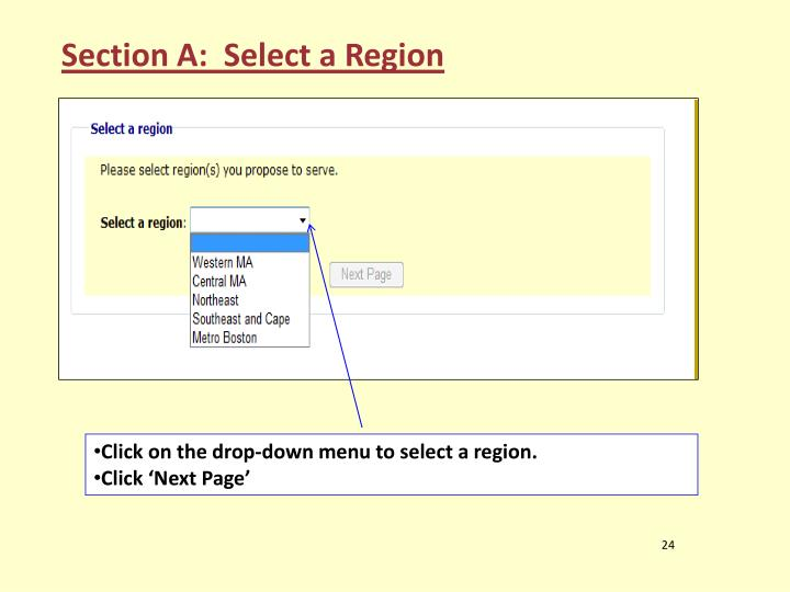 Section A:  Select a Region