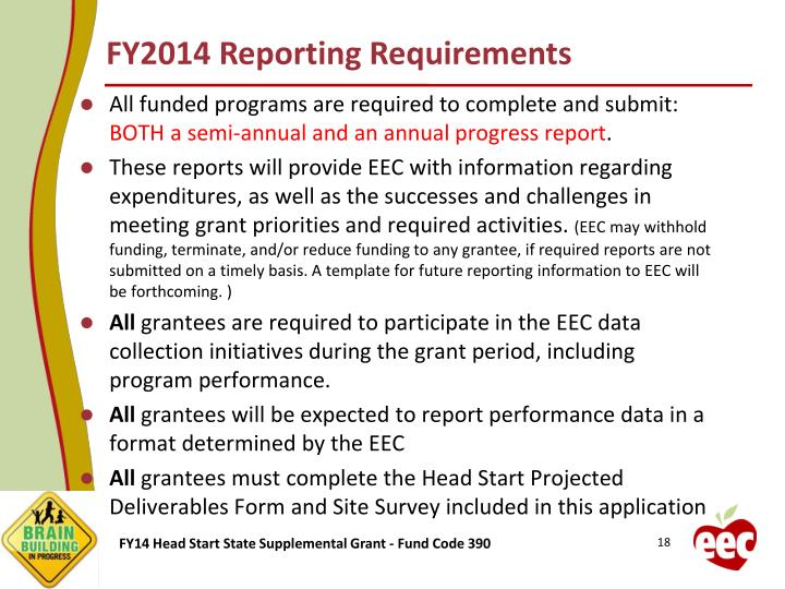 FY2014 Reporting Requirements