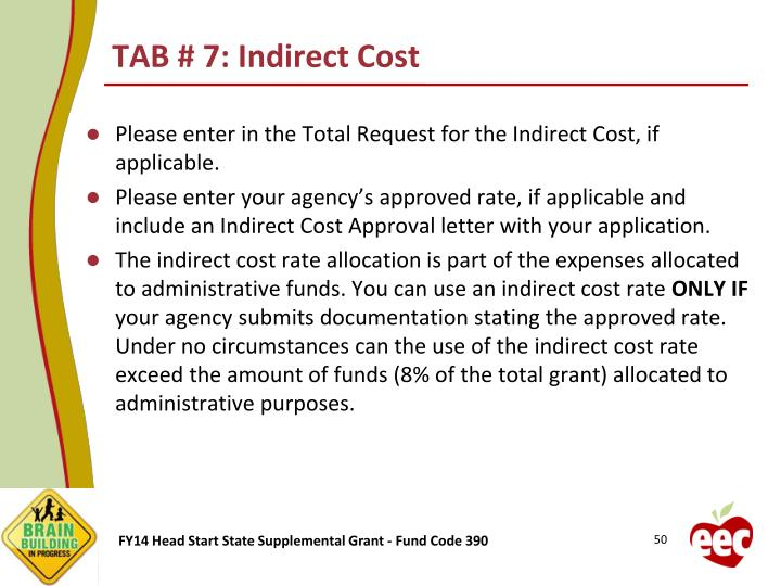 TAB # 7: Indirect Cost