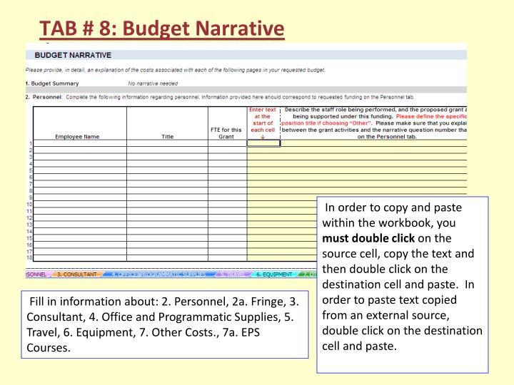 TAB # 8: Budget Narrative