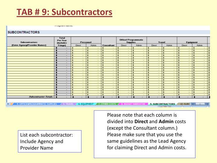 TAB # 9: Subcontractors