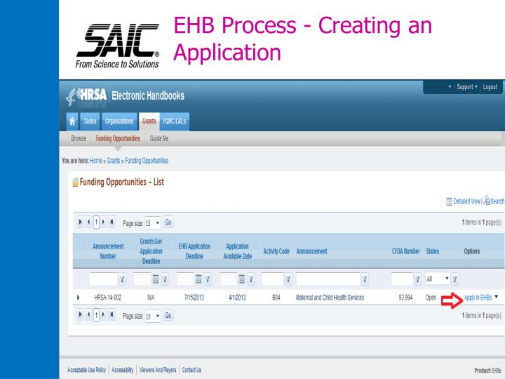 EHB Process - Creating an Application