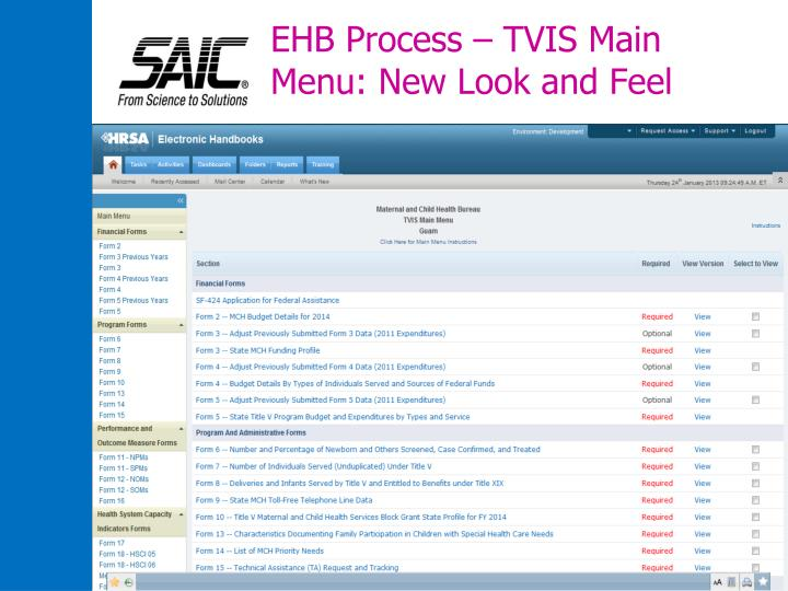 EHB Process – TVIS Main Menu: New Look and Feel