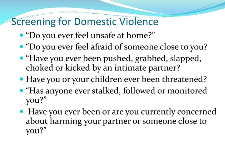 Screening for Domestic Violence