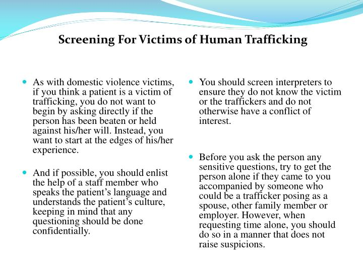 Screening For Victims of Human Trafficking