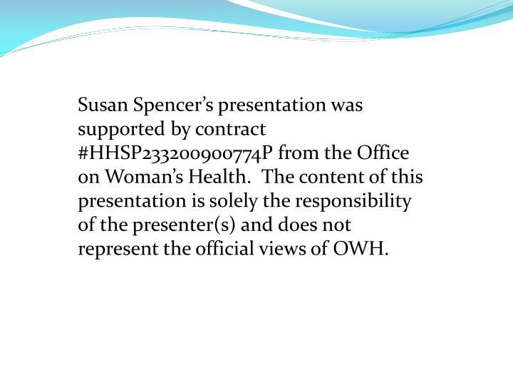 Susan Spencer's presentation