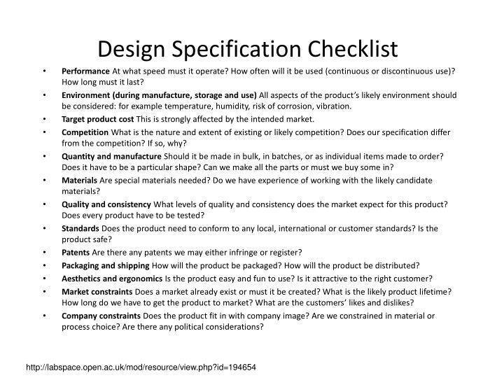 Design Specification Checklist