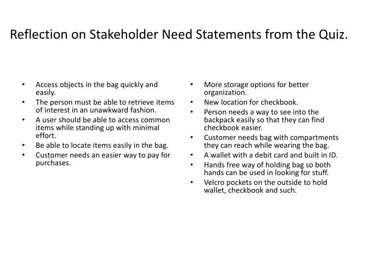Reflection on Stakeholder Need Statements from the Quiz.