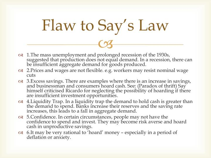 Flaw to Say's Law