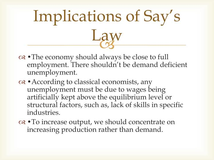 Implications of Say's Law