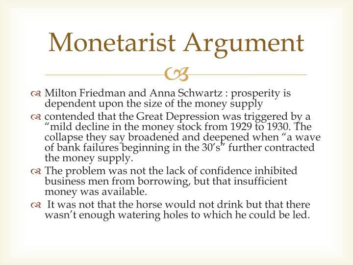 Monetarist Argument