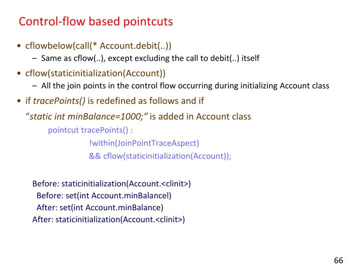 Control-flow based pointcuts