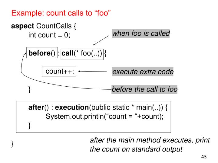 "Example: count calls to ""foo"""