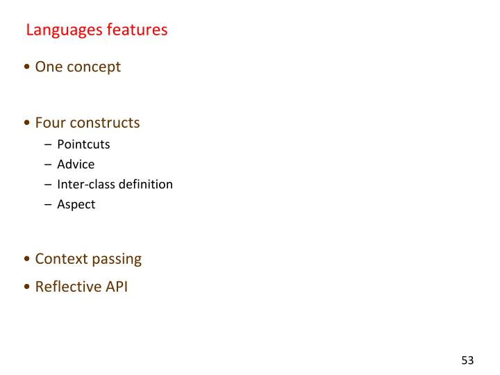 Languages features