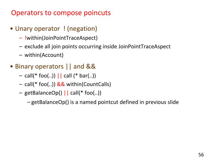 Operators to compose poincuts