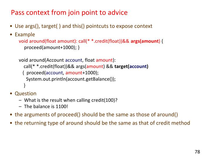 Pass context from join point to advice