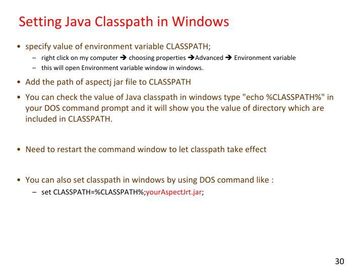 Setting Java
