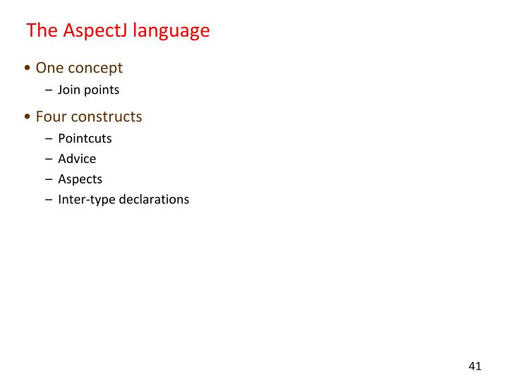 The AspectJ language