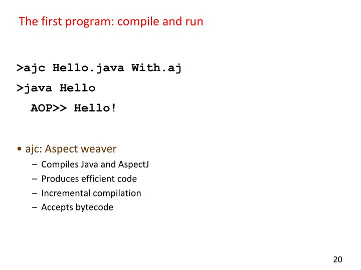 The first program: compile and run