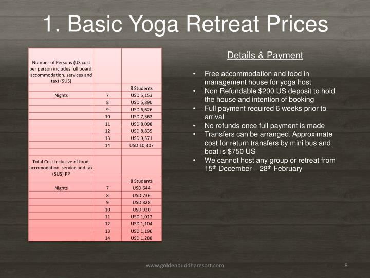 1. Basic Yoga Retreat Prices