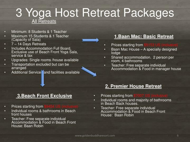 3 Yoga Host Retreat Packages