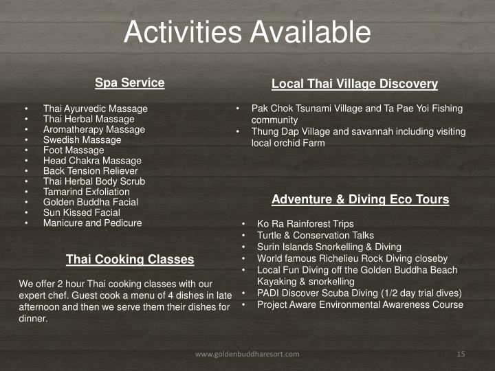 Activities Available