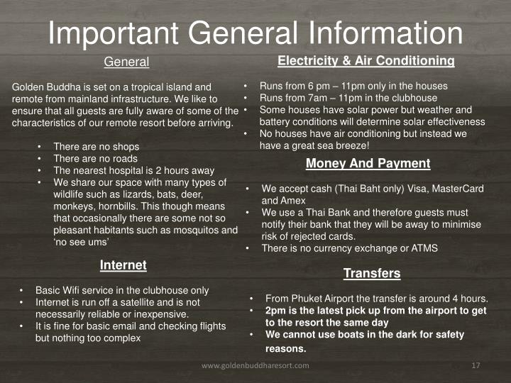 Important General Information