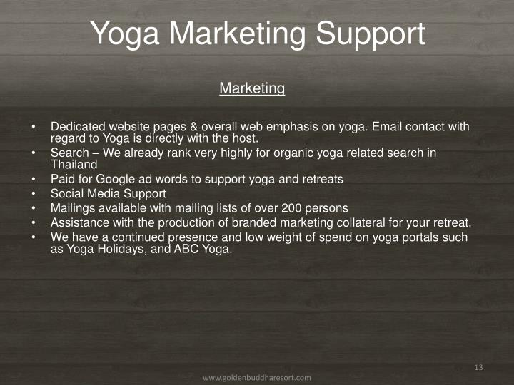 Yoga Marketing Support
