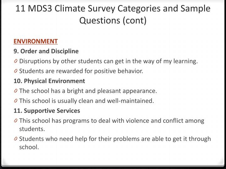 11 MDS3 Climate Survey Categories and Sample Questions (