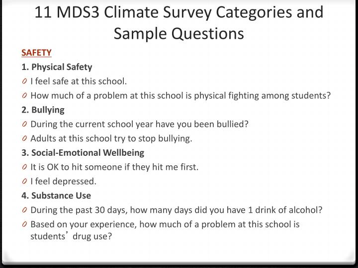 11 MDS3 Climate Survey Categories and Sample Questions