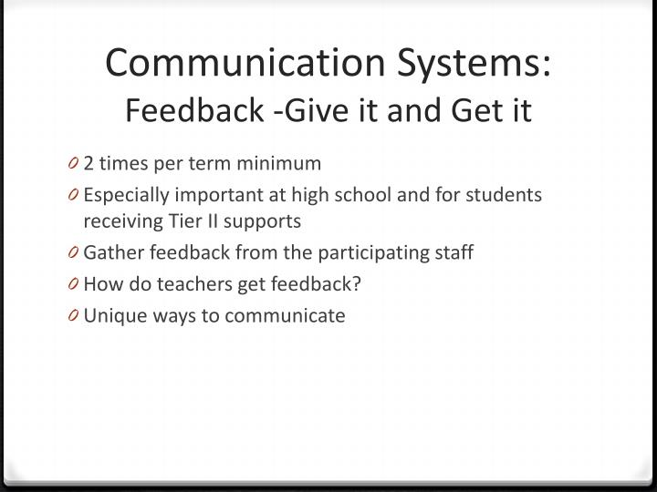 Communication Systems: