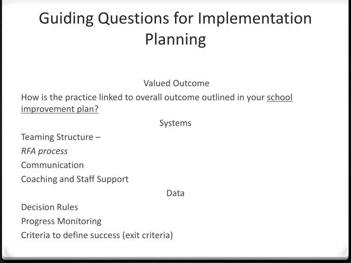 Guiding Questions for Implementation Planning